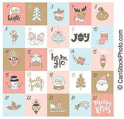 navidad, calendario de advenimiento, con, navidad, symbols.