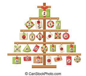 navidad, calendario de advenimiento, con, santa claus, reno, snowman, y, regalo, calendario de advenimiento, con, navidad, elementos, cartel, vector, ilustraciones