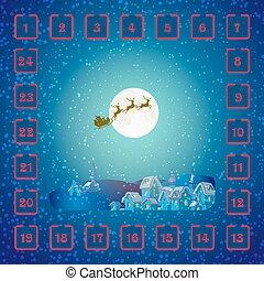 navidad, calendario de advenimiento, con, santa claus, y, deer.