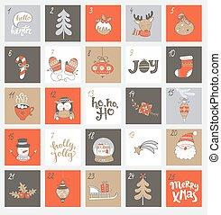 navidad, calendario de advenimiento, con, symbols.