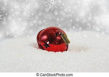 navidad, campana, con, creer, etiqueta, anidado, en, nieve