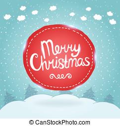 navidad, card., feriado, plano de fondo, con, badge.