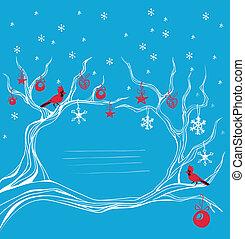 navidad, cardinal, pájaro, desayuno-almuerzo, decoración