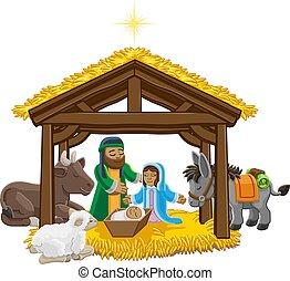 navidad, caricatura, escena, natividad