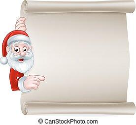 navidad, caricatura, rúbrica, santa, señal
