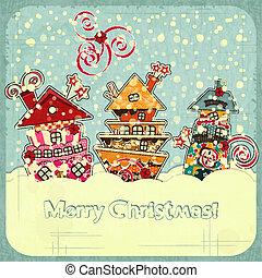 navidad, casas, y, nieve