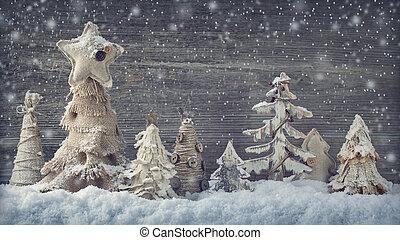 navidad, casero, árboles, en, un, de madera, plano de fondo