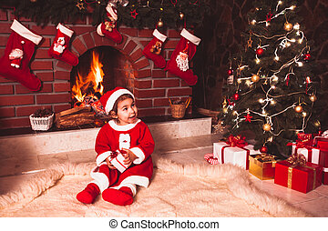 navidad, chimenea