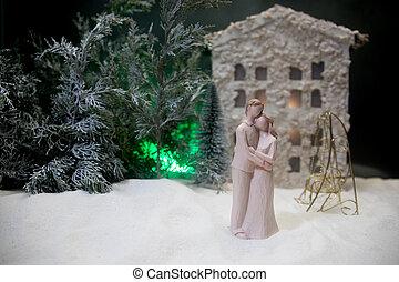 navidad, cielo, yarda, casa, feliz, mirar, guirnaldas, ...