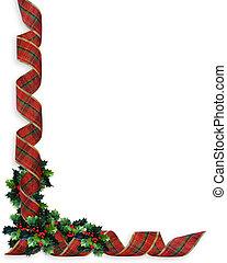 navidad, cintas, frontera, acebo
