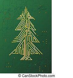 navidad, circuito, árbol