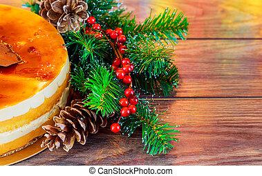 navidad, composition., pastel, año nuevo, decoración