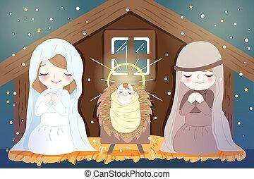 navidad, con, bebé jesús