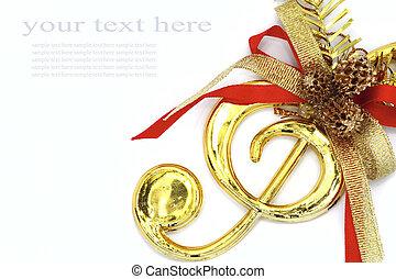 navidad, con, musical, señales, y, color, ribbon.