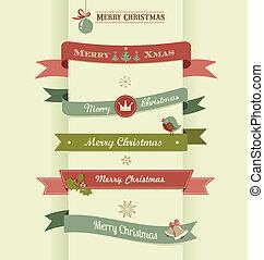 navidad, conjunto, de, cintas, emblemas, y, elementos
