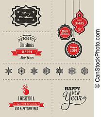 navidad, conjunto, -, etiquetas, emblemas, y, elementos