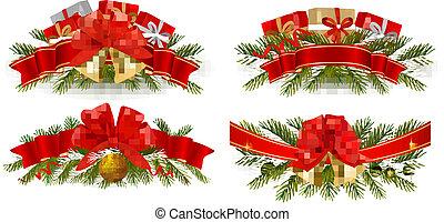 navidad, conjunto, guirnaldas, feriado