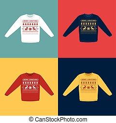 navidad, conjunto, iconos, deers, pixel, feo, suéteres, o, ...