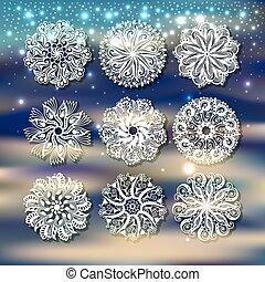 navidad, conjunto, nieve, copo de nieve, decoración, backgro, sombra