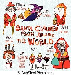 navidad, conjunto, -, santa, clauses, de, alrededor, el,...