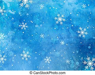 navidad, copos de nieve, en, acuarela, plano de fondo