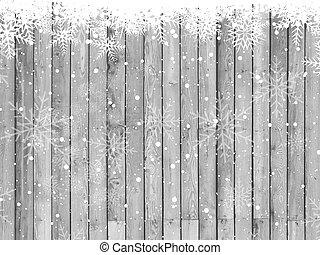 navidad, copos de nieve, en, un, textura de madera, plano de fondo
