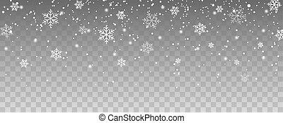 navidad, copos de nieve, nieve del vuelo, aislado, decoración, fondo., blanco, caer, transparente