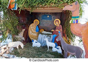 navidad, crib., lugar de nacimiento, jesucristo, maría, y, josef