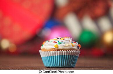 navidad, cupcake, y, regalos, en, fondo.