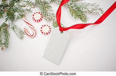 navidad, decoración, con, espacio, tarjeta, para, su, texto