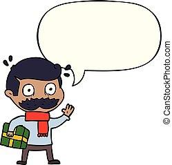 navidad, discurso, bigote, burbuja, caricatura, presente,...