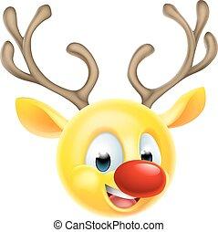 navidad, emoticon, emoji, reno