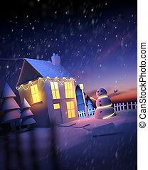 navidad, en casa, paisaje de invierno