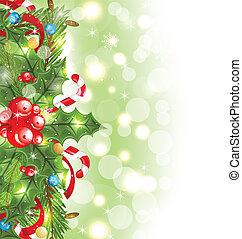 navidad, encendido, plano de fondo, con, decoración...