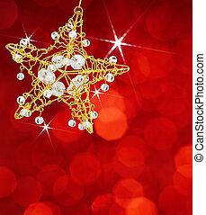 navidad, estrella, con, luces rojas