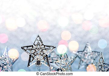 navidad, estrella, feriado, luces, decoración, en, plata, plano de fondo