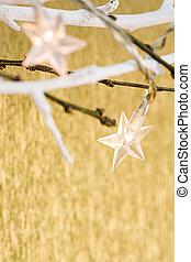 navidad, estrella, luces, en, fondo dorado