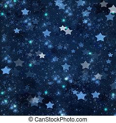 navidad, estrellas, en, fondo azul