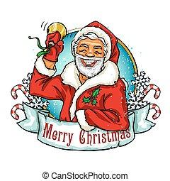 navidad, etiqueta, con, santa