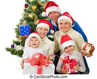 navidad, familia , aislado, blanco