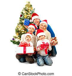 navidad feliz, familia , con, regalos, aislado, blanco