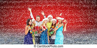 navidad feliz, gente, collage.