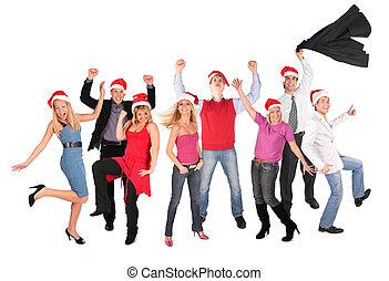 navidad feliz, gente, grupo