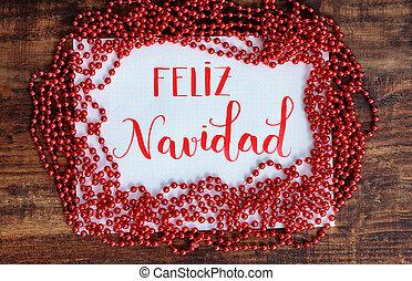 navidad feliz, mensaje, en, español