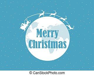 navidad feliz, santa claus, es, vuelo, en, un, sleigh, con, venado, alrededor, el, planeta, earth., nieve, fondo., vector, ilustración