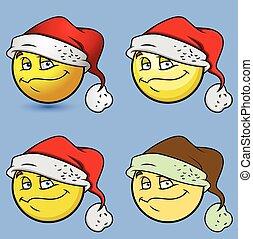 navidad feliz, santa, smiley, conjunto