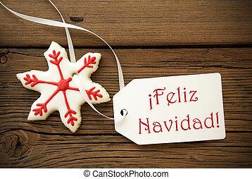 navidad, feliz, saudações, natal, espanhol