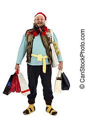 navidad, feliz, venta, sin hogar, hombre