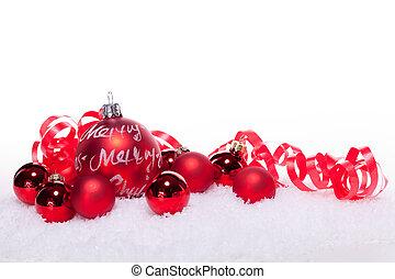 navidad, festivo, nieve, aislado, decoración, chuchería, ...