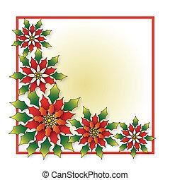 navidad, flor de nochebuena, marco